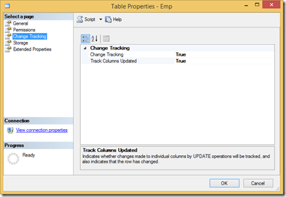 Enabling Change Tracking in SQL Server for a single table