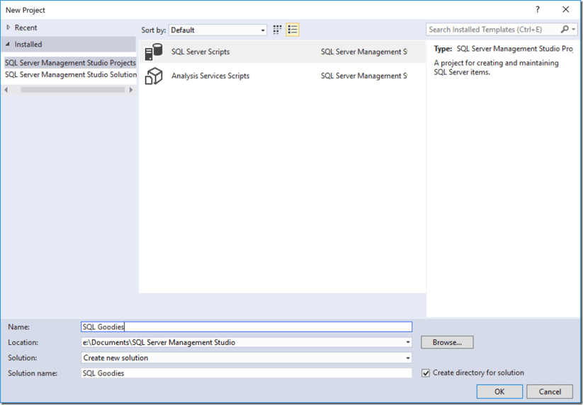 SQL Server Management Studio Projects