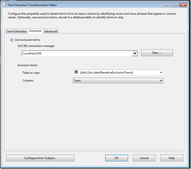 SSIS Term Extraction