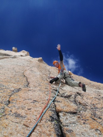 Dave H Hi5ing near the top of the Chandelle.