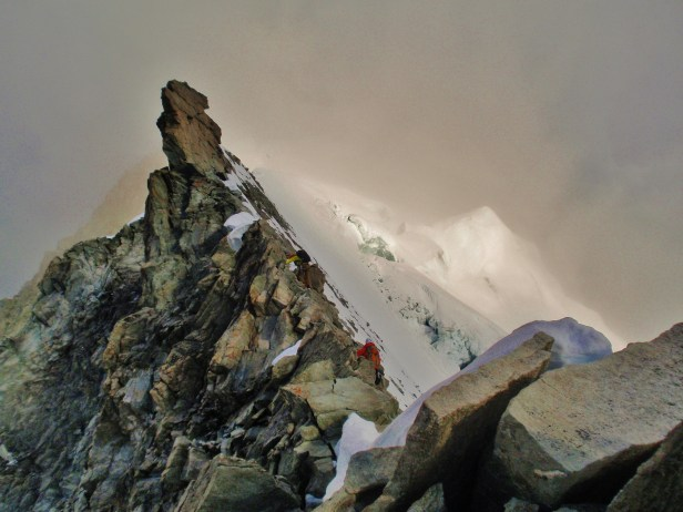 Moody alpine dawn on the Weisshorn East ridge.