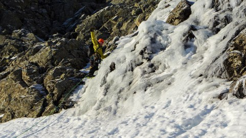 Dave can't believe he's climbing ice! I think a few of the team thought we were taking the piss the evening before!