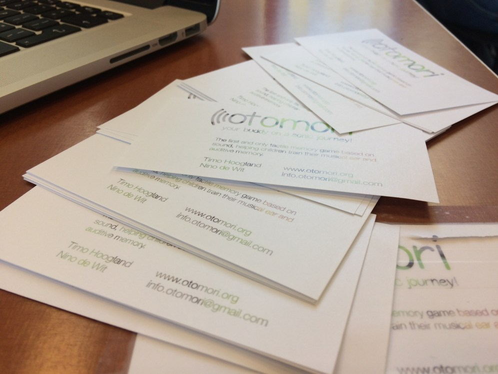 Business cards on table