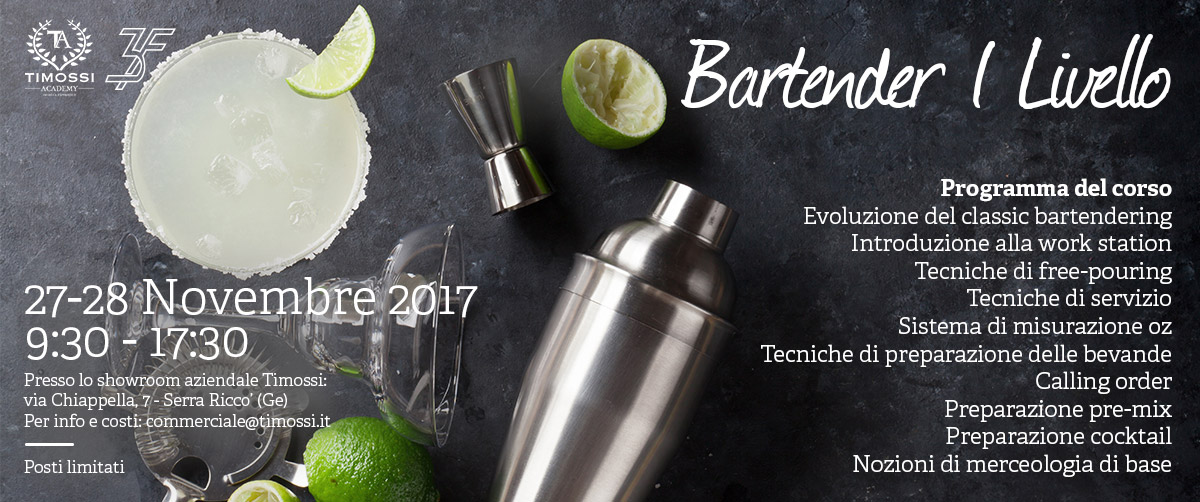 27/28 Nov 2017 – Corso Bartender I livello