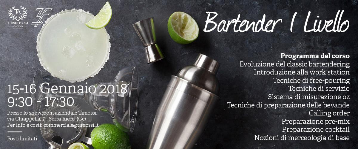 15/16 Gen 2018 – Corso Bartender I livello