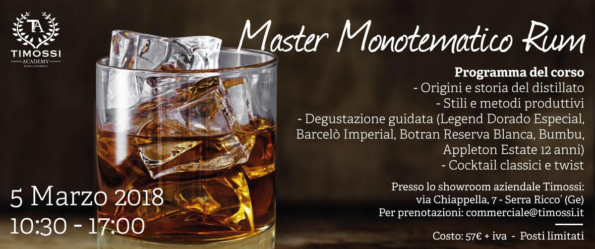 5 Mar 2018 – Master Monotematico Rum