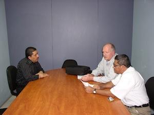 Roberto Alvarez, left; me in the center; Rigoberto Vargas, right