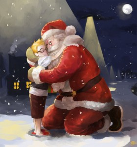 Santa hugging little boy at Christmas at night.