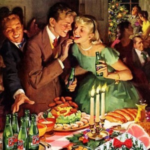 Classic Christmas party art illustration of a couple with food and drinks