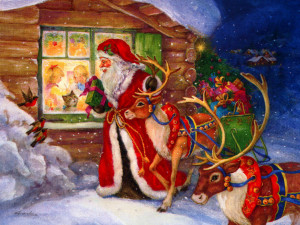Santa and reindeer looking in window at a happy family