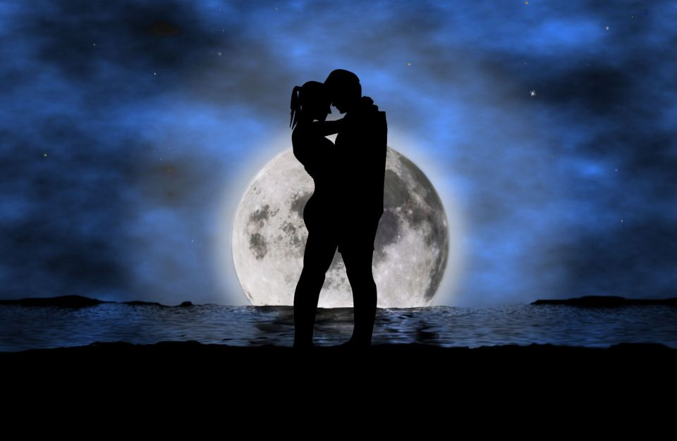 Romantic moon couple