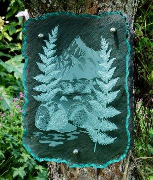 Engraved Glass Slate Garden Art Sculpture New Zealand