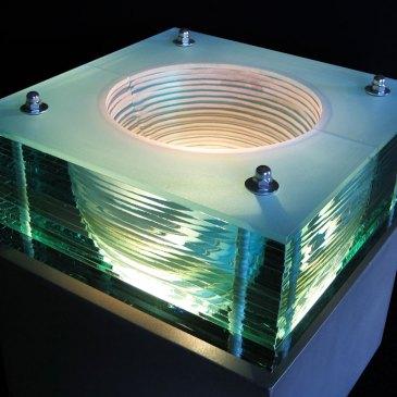 Glass Light Sculpture Sandblasted Hemisphere