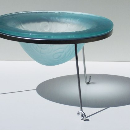 Kiln Formed Decorative Glass Drop Bowl Sandblasted Acid Polished Steel Glass Tim Carter