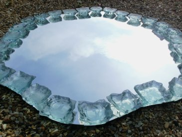 Mirror Decorative Irregular Glass Sculpture Etched