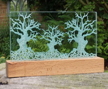 Three Trees Oak Engraved Glass Light