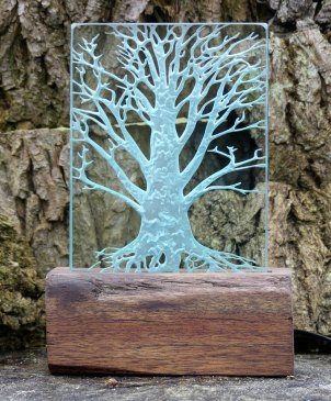 Engraved Glass Tree Light