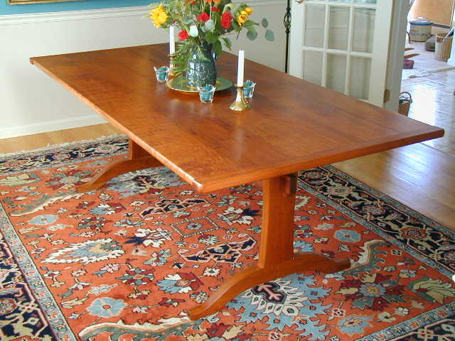 cherry dining table trestle