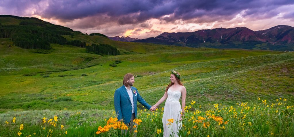 Bride and groom Crested Butte Colorado