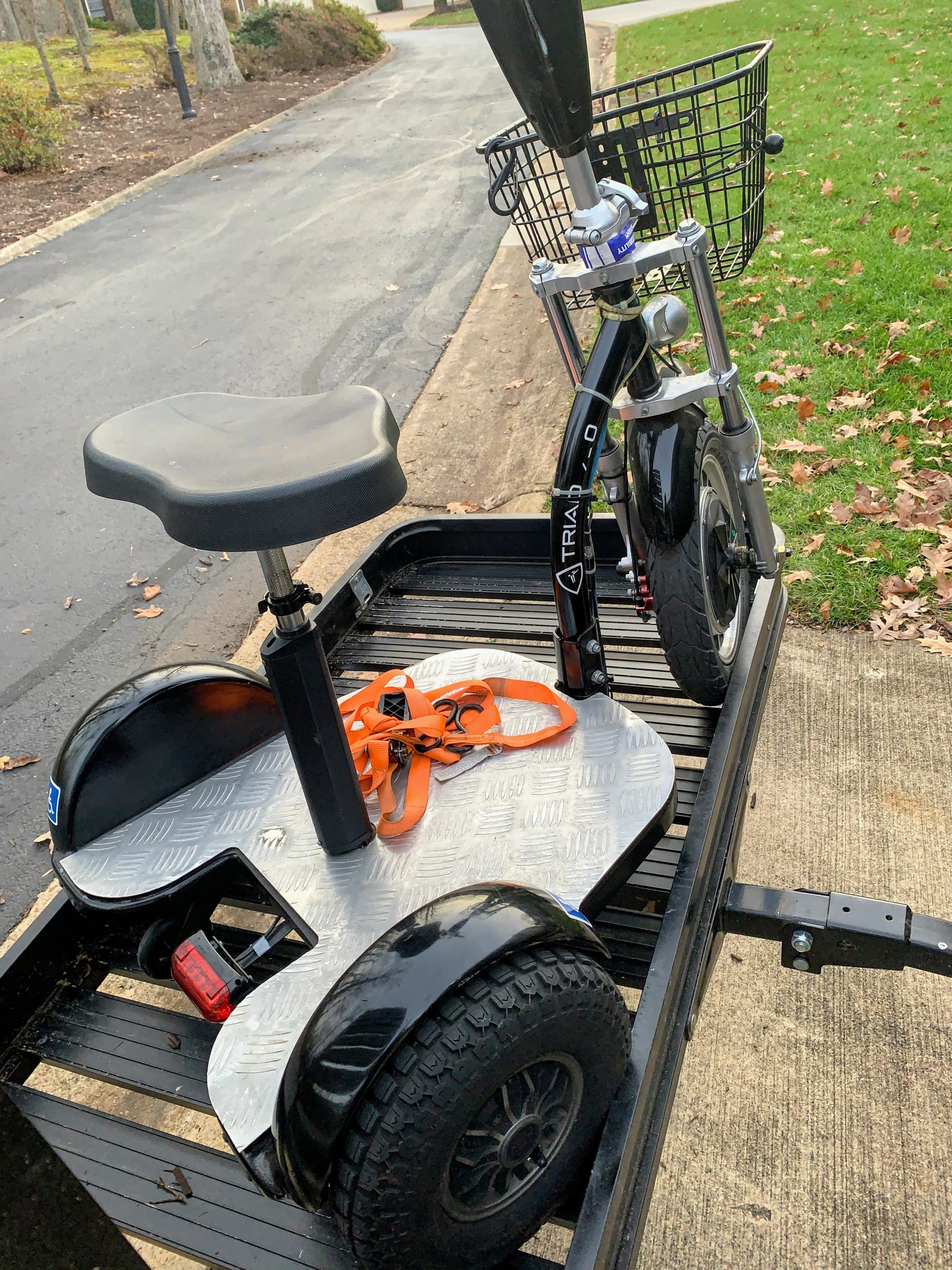 Triad on a Mobility Scooter Carrier ready to be secured for travel