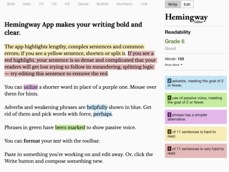Hemingway copywriting app.