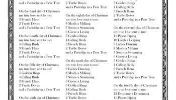 12 days of christmas lyrics - 12 Days Of Christmas Lyrics