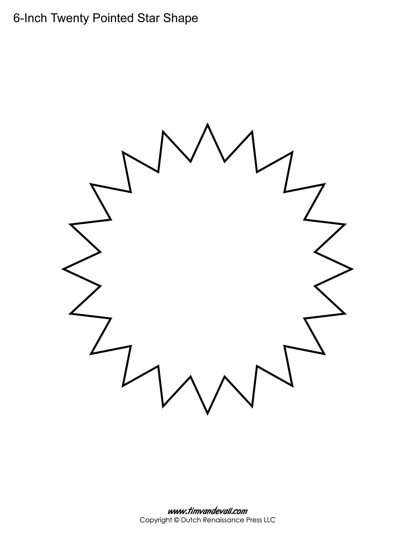 Printable Twenty Pointed Star Templates Blank 20 Sided Star