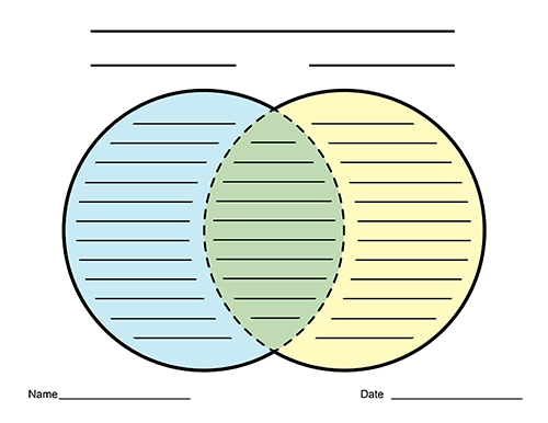 Bright image for printable venn diagram with lines