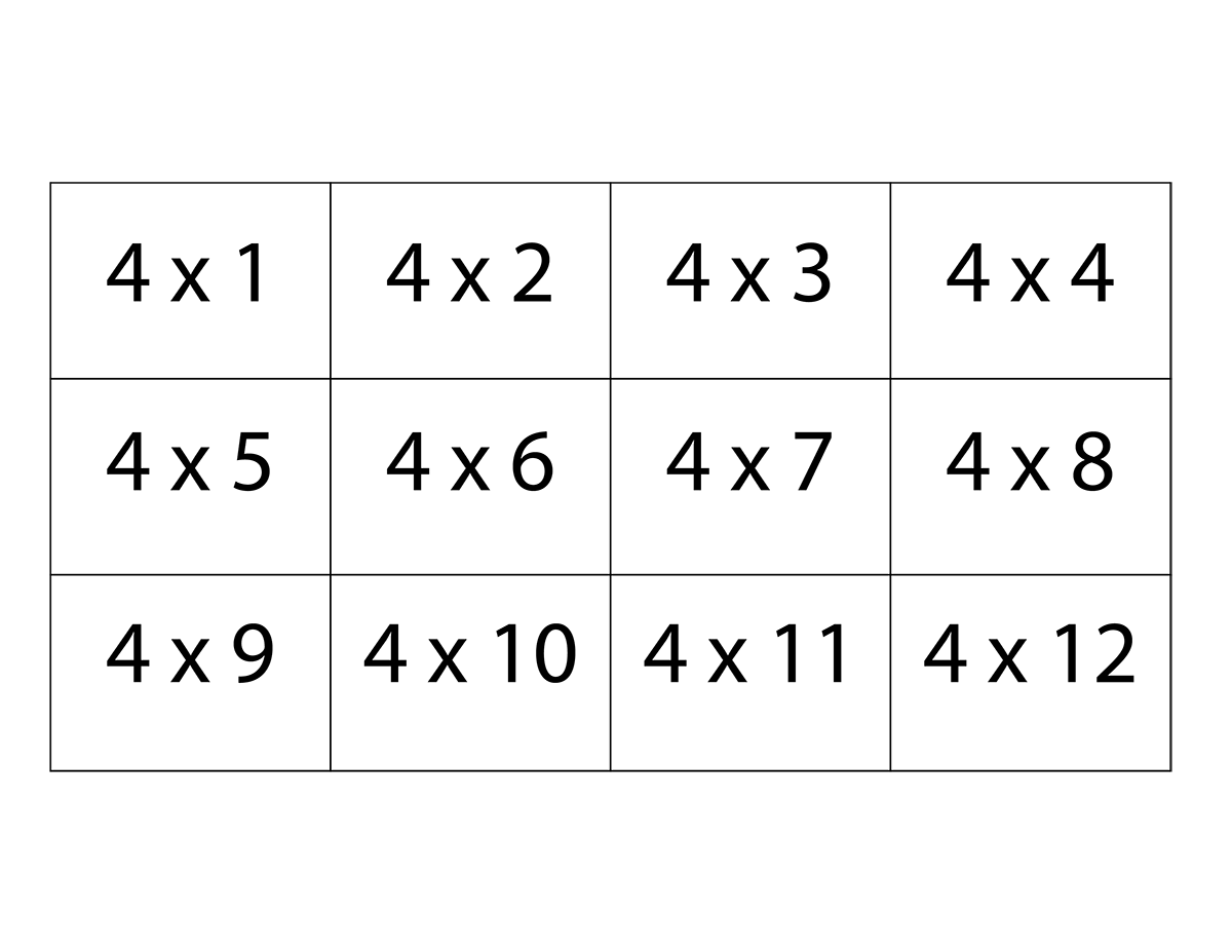 multiplication flash cards printable pdf