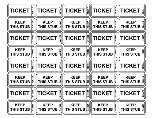 raffle tickets with numbers