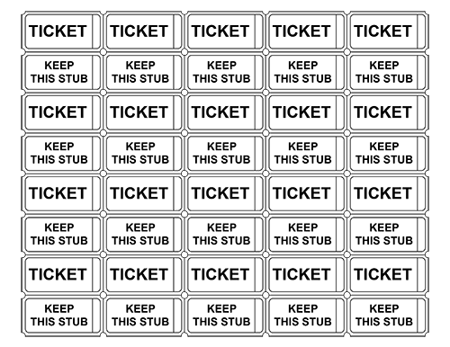 Printable Event Tickets without Numbers