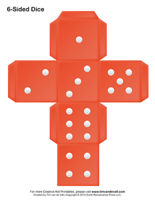 printable six-sided red dice