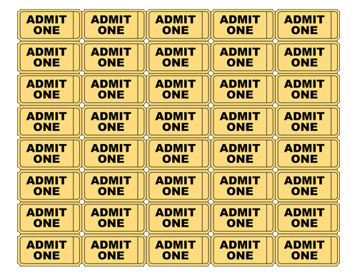 Gold Admit One Ticket Templates