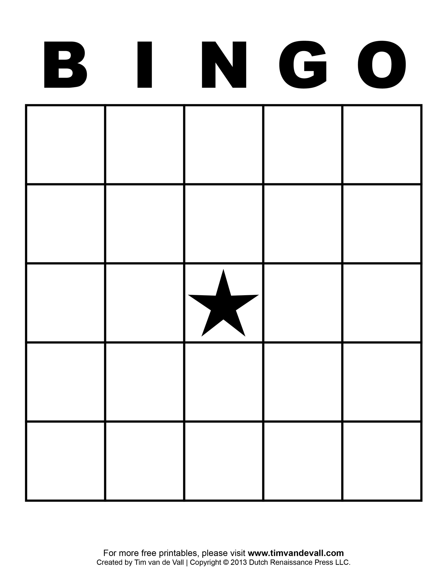 Printable Blank Bingo Cards For Teachers