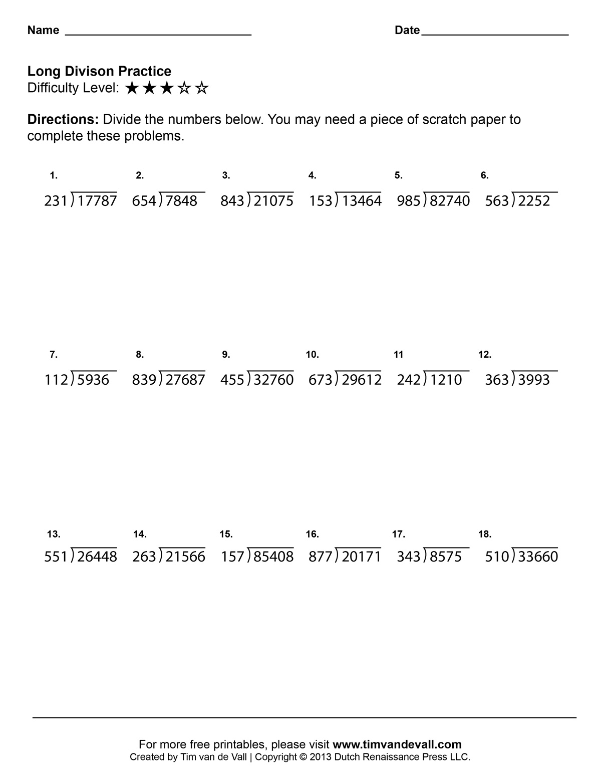Long Division Worksheets Printable Fourth Grade Math