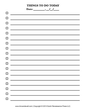 things to do today check list printable