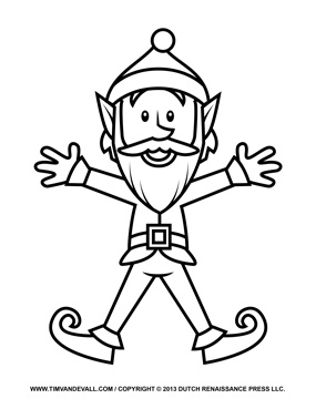Printable Elf Clipart, Coloring Pages, Template