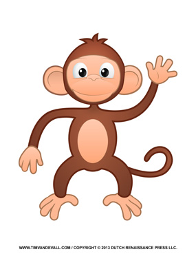 Printable Monkey Clipart, Coloring Pages, Cartoon & Crafts ...