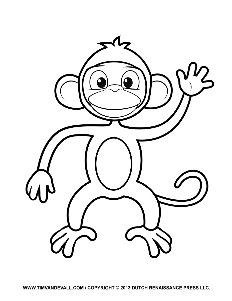 Printable Monkey Clipart, Coloring Pages, Cartoon & Crafts