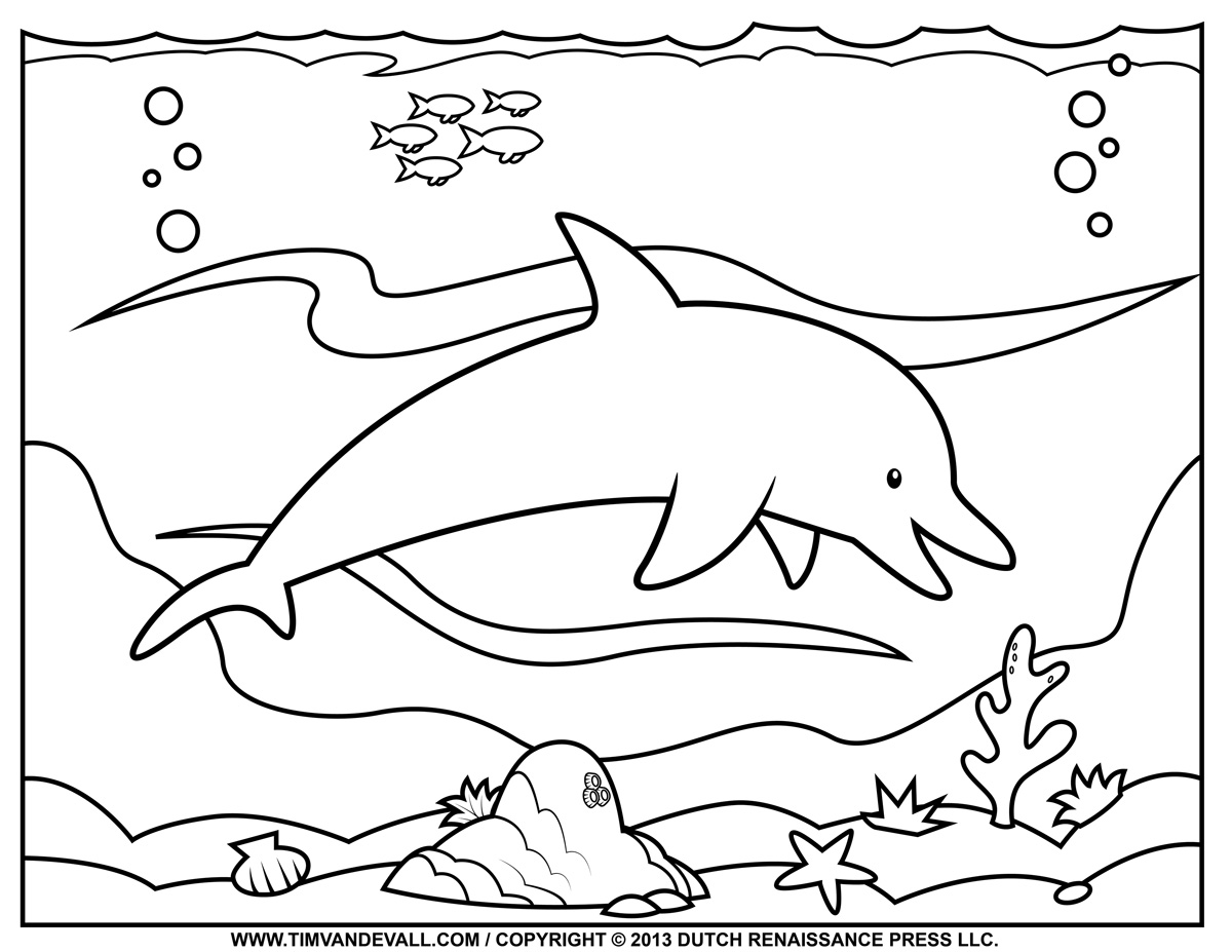 Free Dolphin Clipart, Printable Coloring Pages, Outline