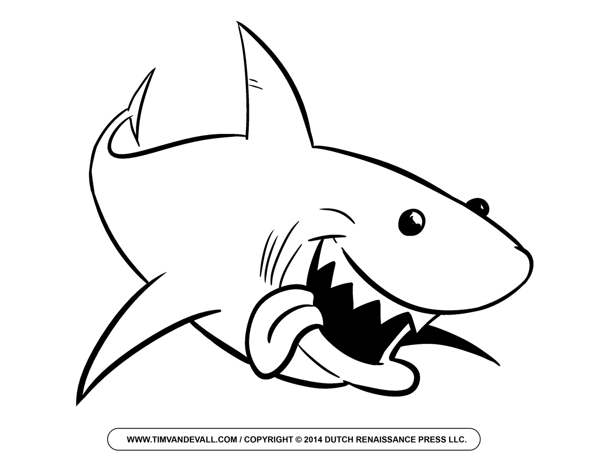 Free Cartoon Shark Clipart Shark Outline And Shark Silhouette