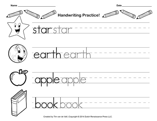 Handwriting Practice Paper For Kids Blank PDF Templates