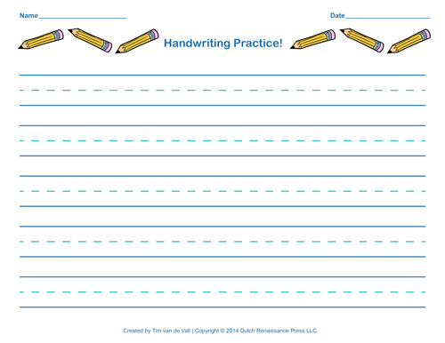 Handwriting-Practice-Worksheet - Tim's Printables