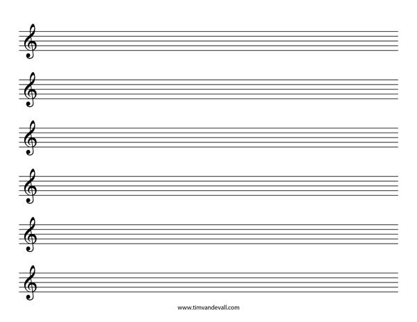 treble clef staff paper