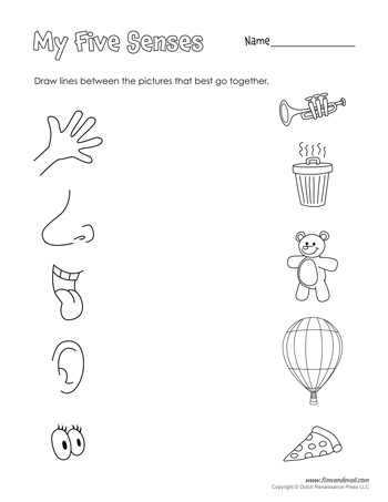 5 senses printable