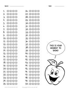 50 question answer sheet template