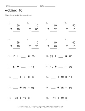 Adding 10 Worksheet