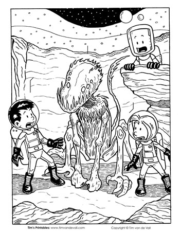 Aliens on Proxima Centauri B Coloring Page