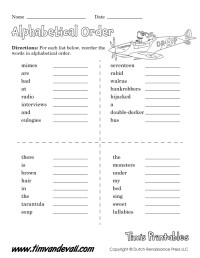 Free Abc Order Worksheets For 1st Grade