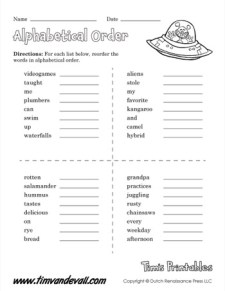 Alphabetical Order Worksheet 01